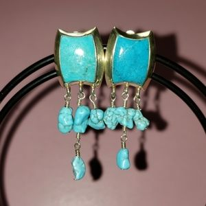 Barse Turquoise and Sterling clip earrings
